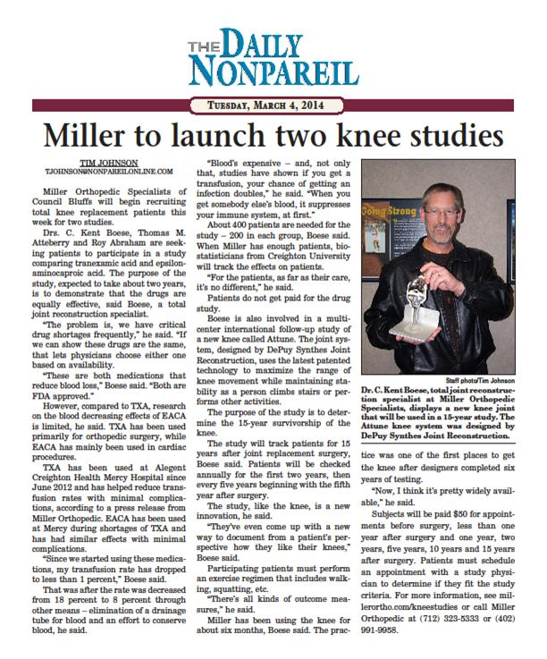 Miller Launches Two Knee Studies Nonpareil